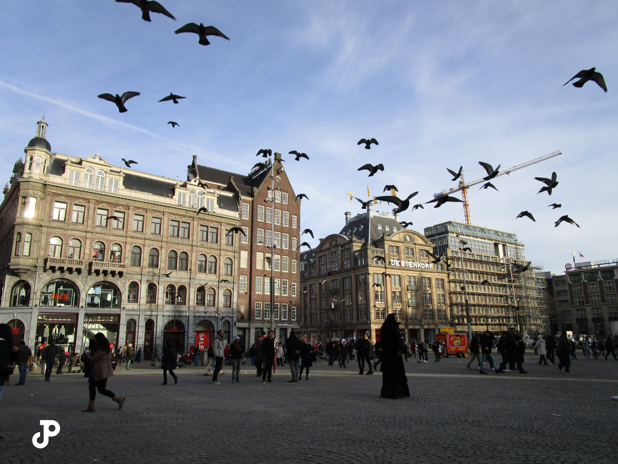 a flock of pidgeons flying over a crowd in Dam Square