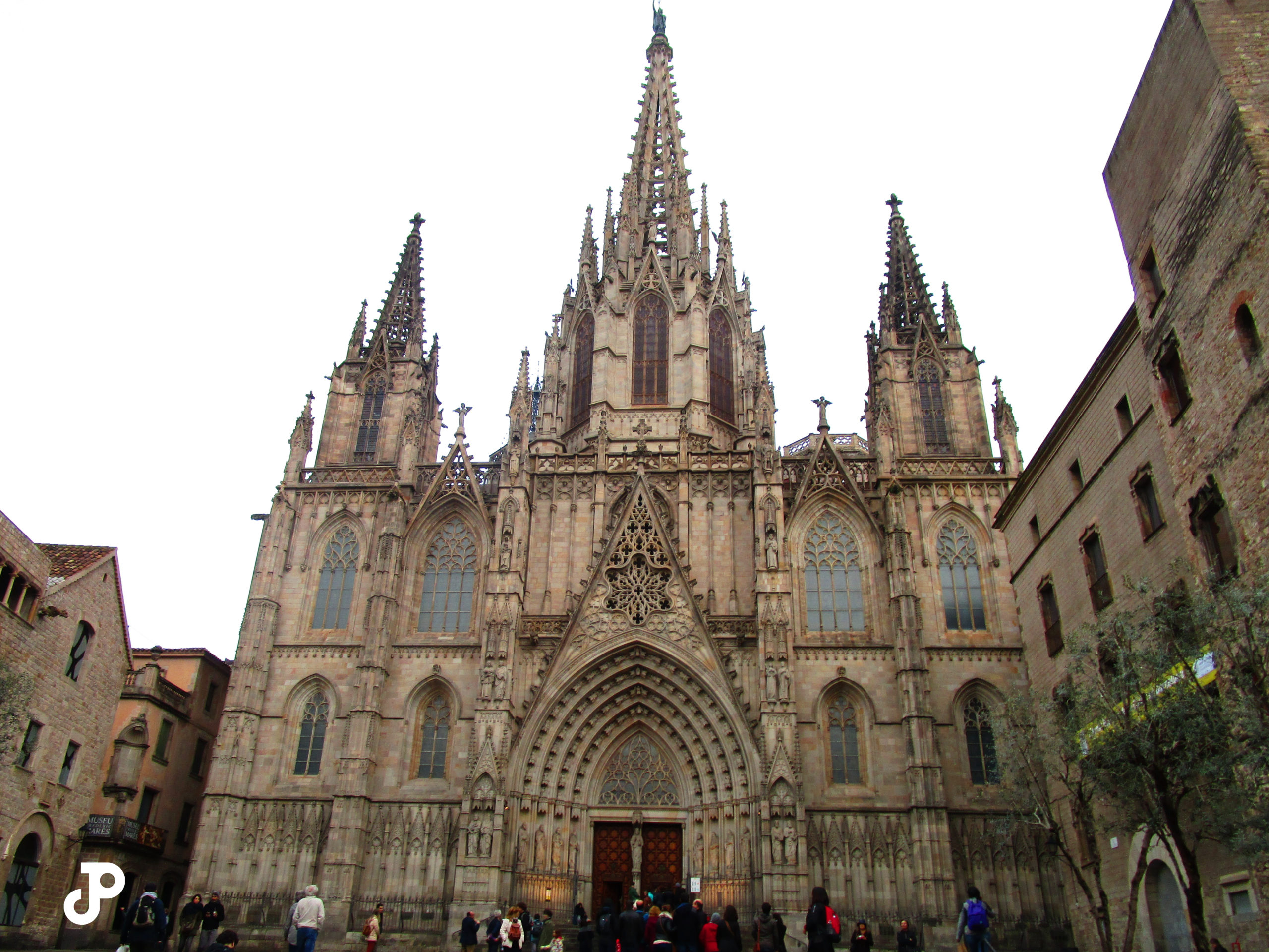 the ornate facade of the Cathedral of Barcelona