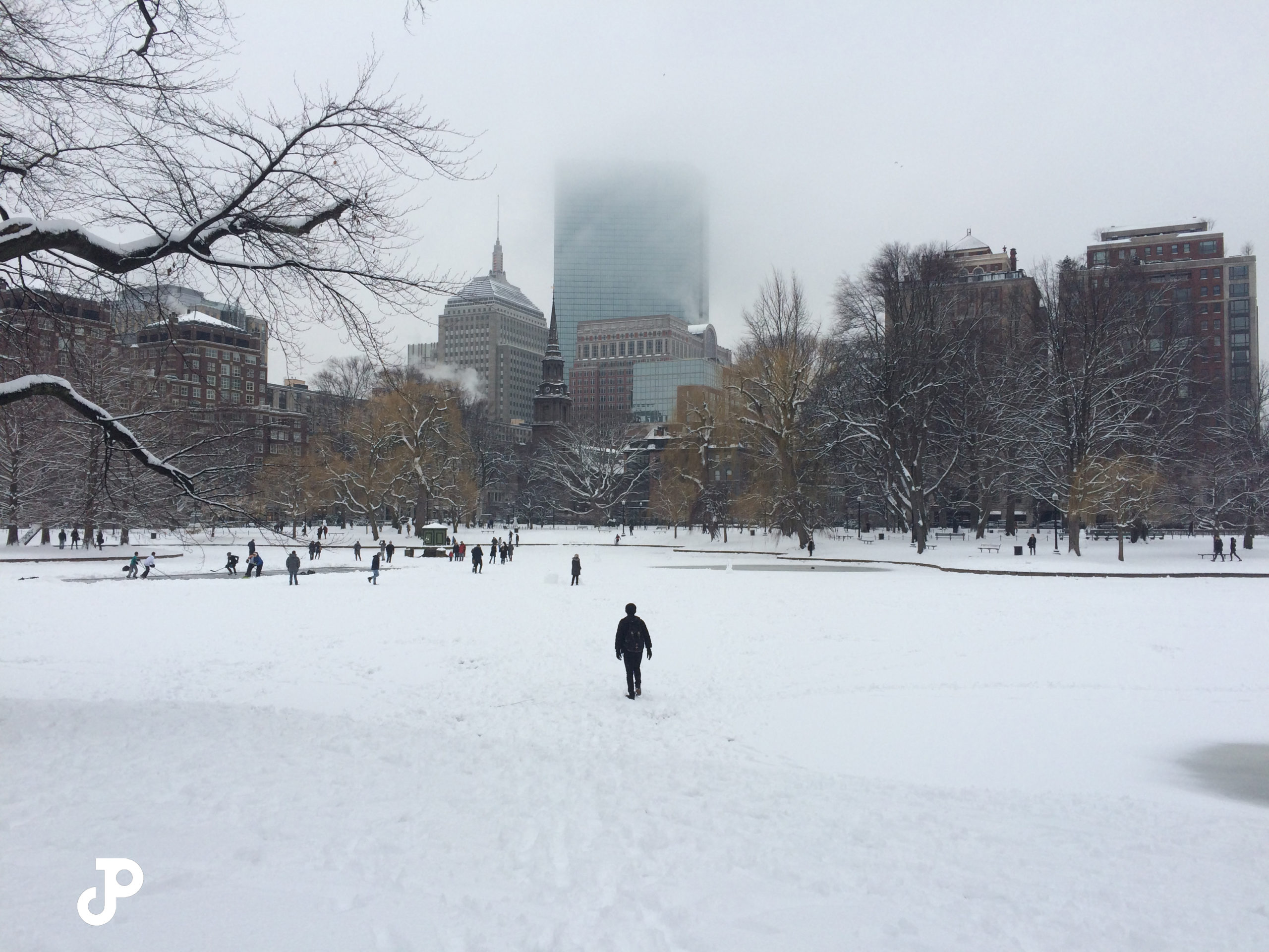 a snowy scene in the Boston Public Garden