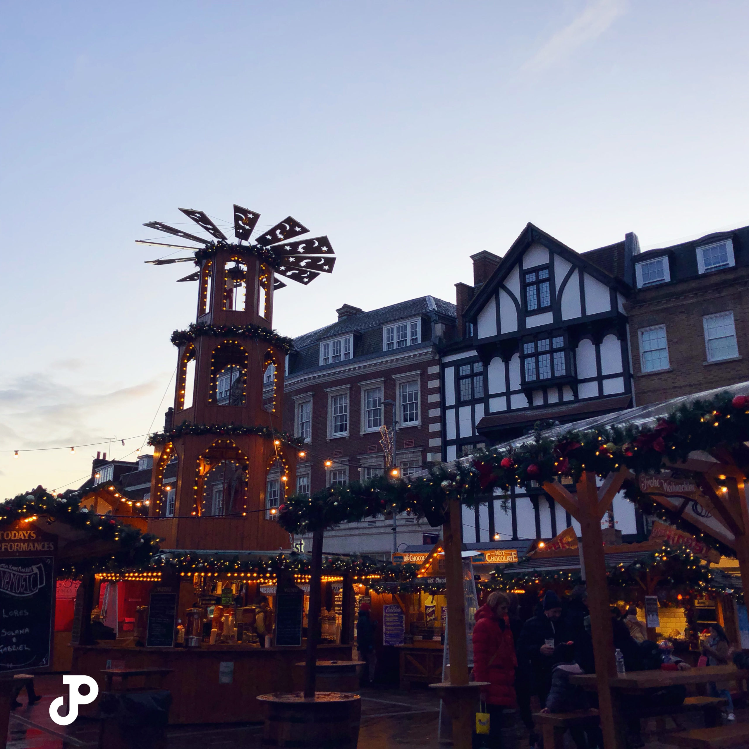 a Christmas market in Kingston Upon Thames, London