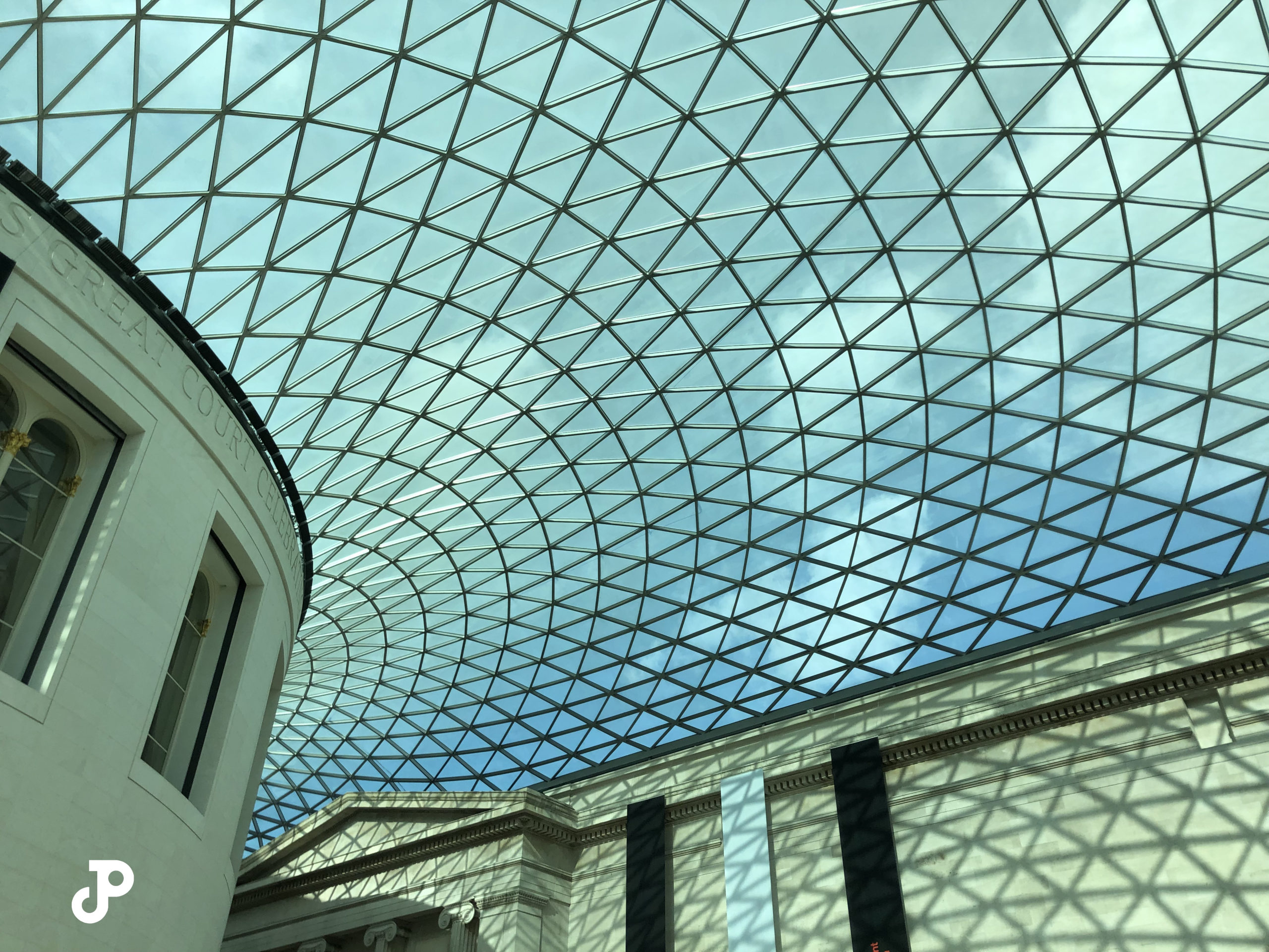 the geometric glass ceiling in the entryway of the British Museum