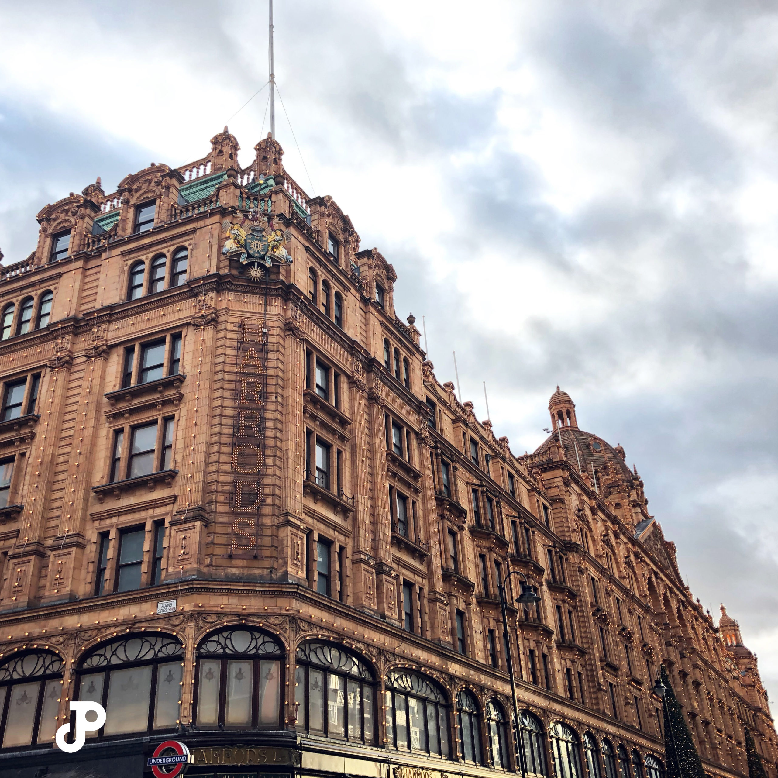 an outside view of Harrods, London
