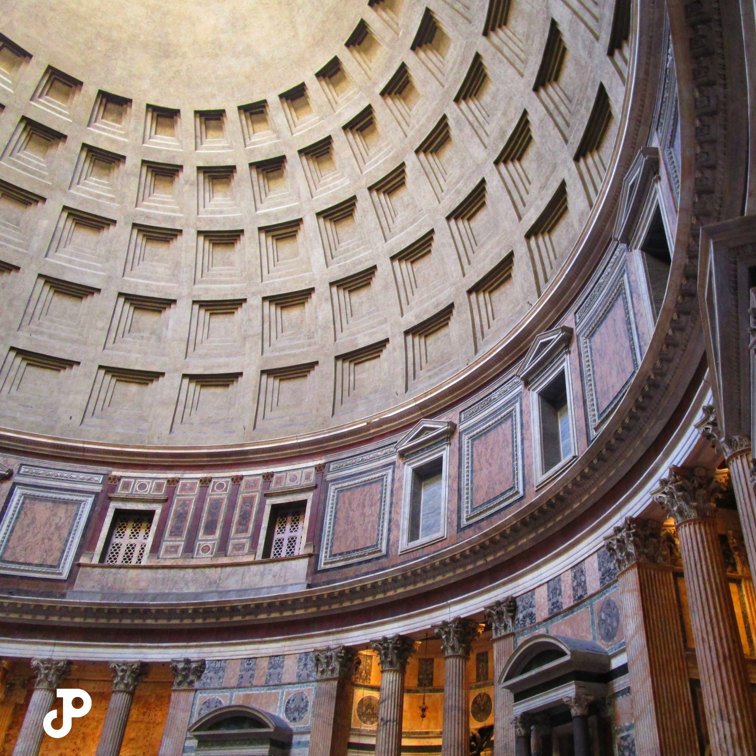 the ornate dome inside the Pantheon
