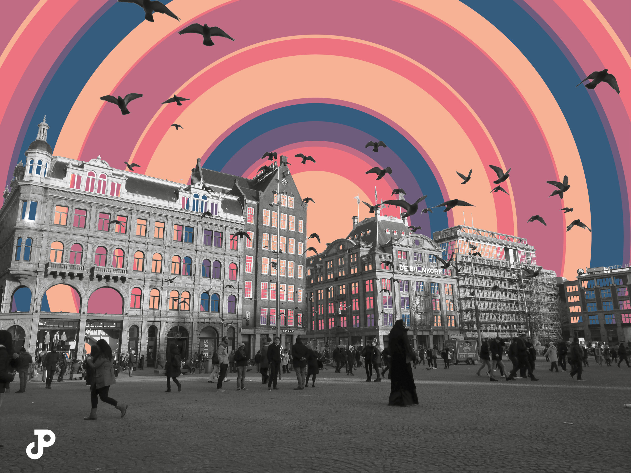 a photograph of buildings in Amsterdam with a colorful pop-art design of concentric circles replacing the sky