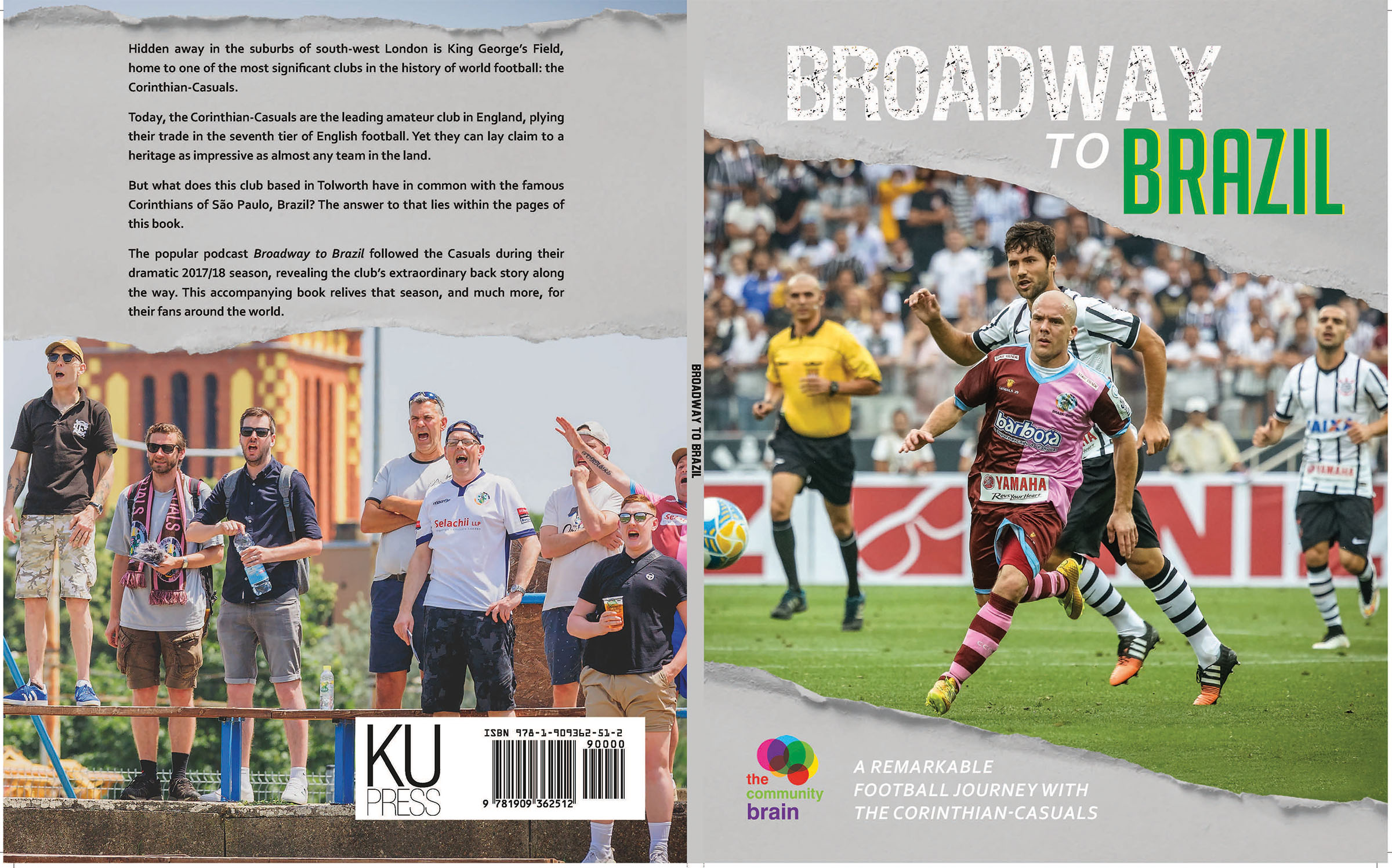 Broadway to Brazil cover spread, showing the front and back covers of the book