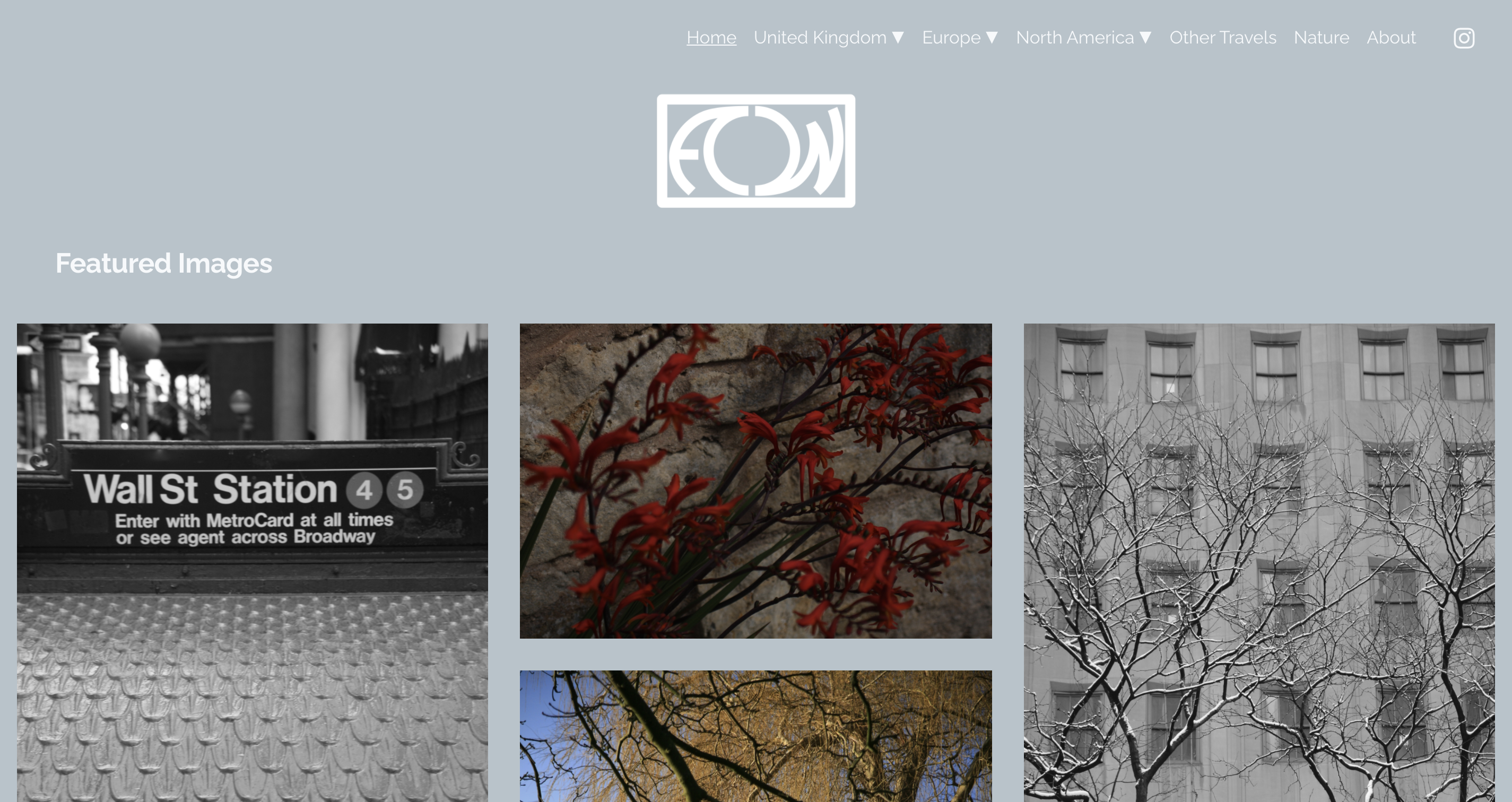 A screenshot of the Andrew Welham Photography home page