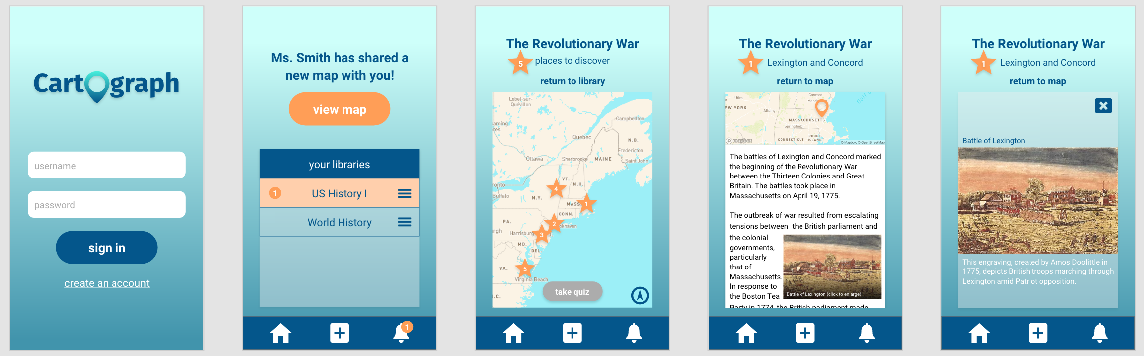 An image depicting five screenshots of the Cartograph app, demonstrating its visual style and design