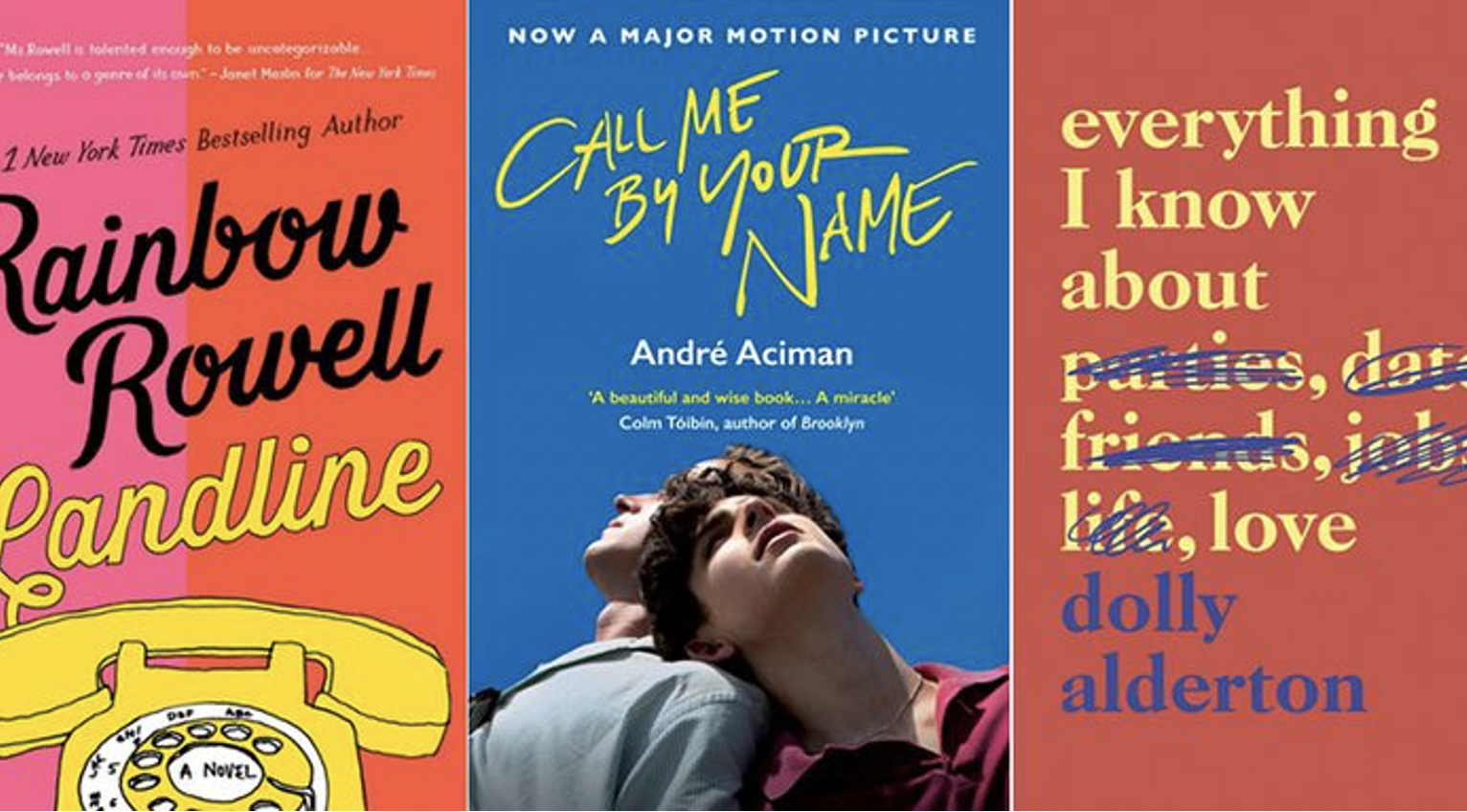 A graphic displaying three book covers: Landline by Rainbow Rowell, Call Me By Your Name by Andre Aciman, and Everything I Know About Love by Dolly Alderton
