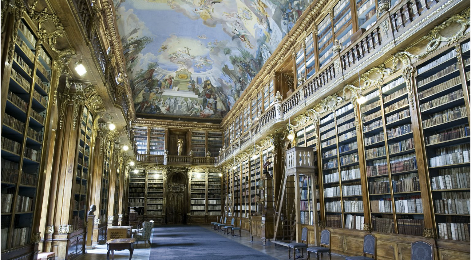 An Enlightenment-era reading room lined with bookshelves that reach to an intricately painted ceiling