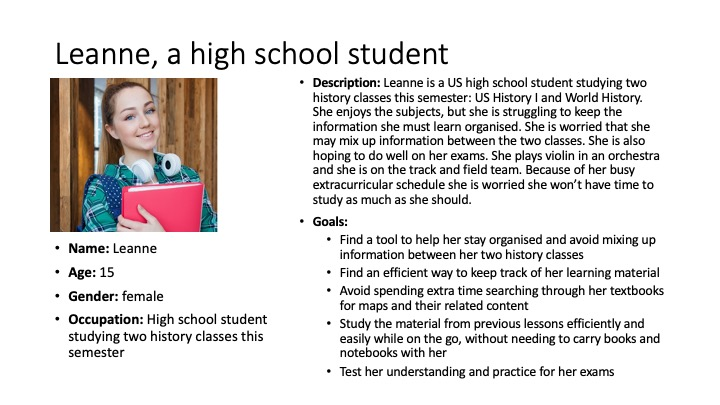 The student user persona