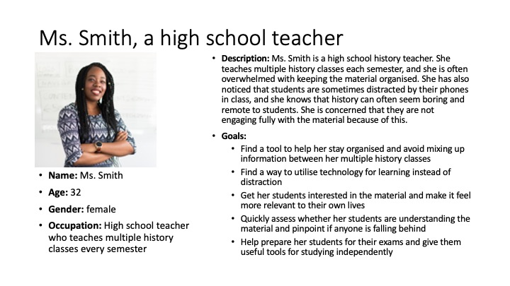 The teacher user persona