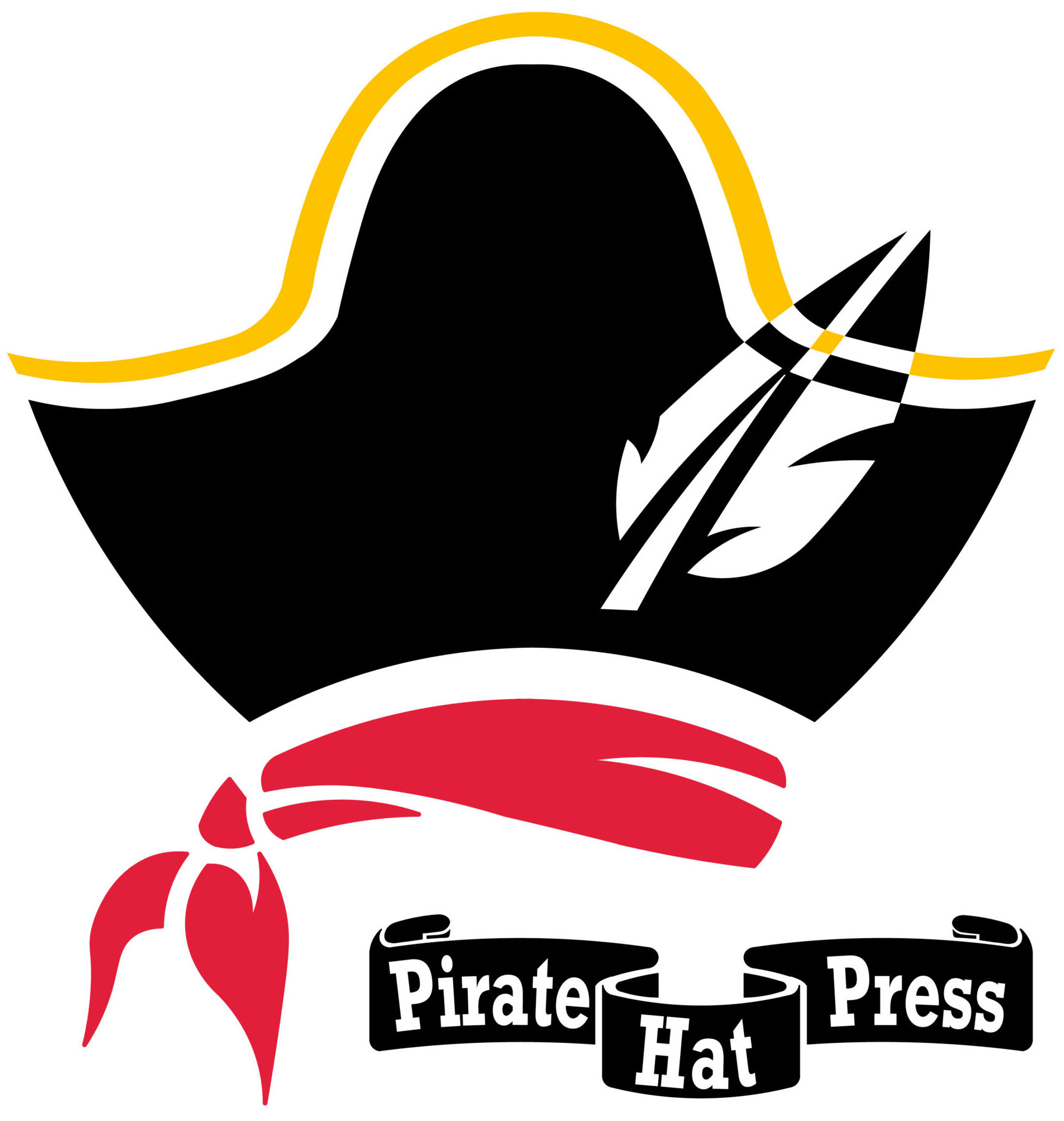 an illustrated logo of a pirate hat and a red scarf, below which is a black scroll with white text that reads Pirate Hat Press