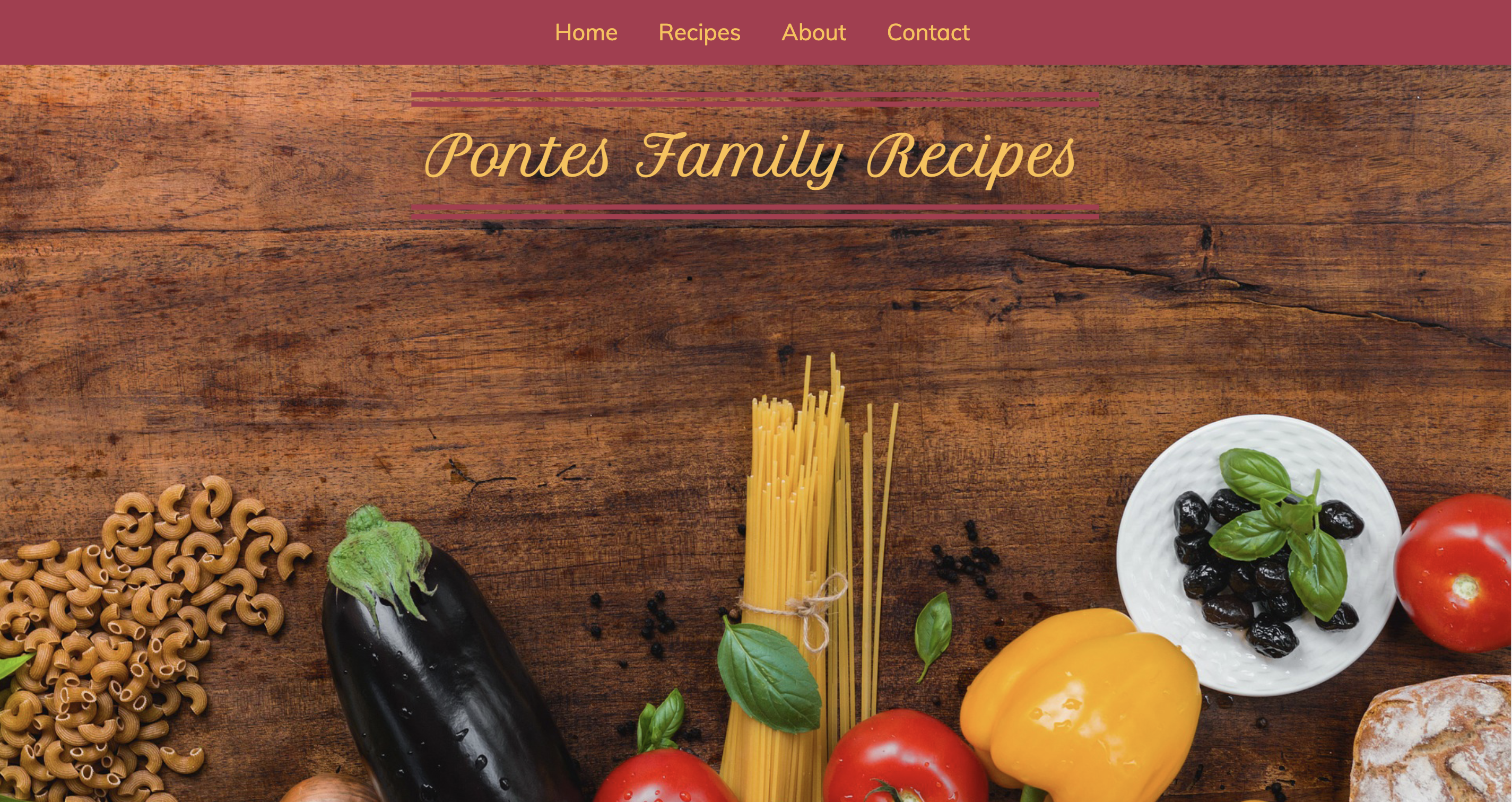 a screenshot of the homepage for the website Pontes Family Recipes