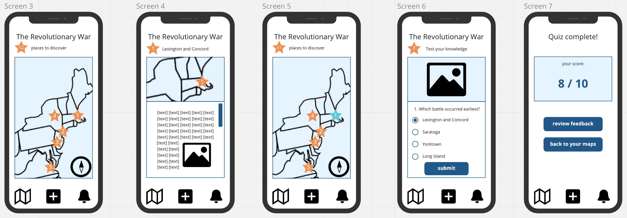 Digital low-fidelity prototypes demonstrating how to view a map and take a quiz on Cartograph